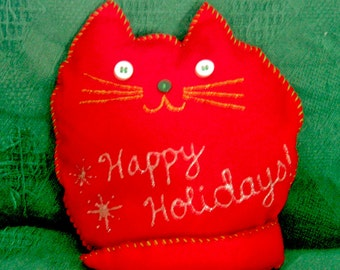 Happy Holidays Red Cat Pillow