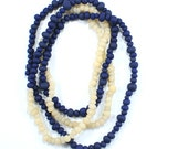 Blue sheep extra long beaded necklace