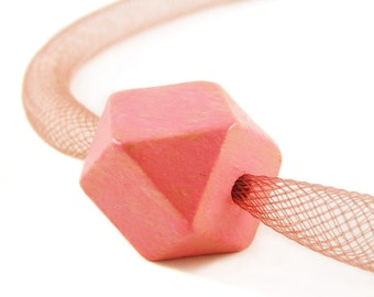 Be Romantic Coral Pink Cube Necklace Geometric 3D Necklace Minimalist Modern Jewelry for Urban Fashionistas