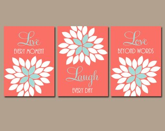 Exceptionnel Live Laugh Love Wall Art, Coral Wall Art, Coral Nursery Decor, Coral  Bathroom