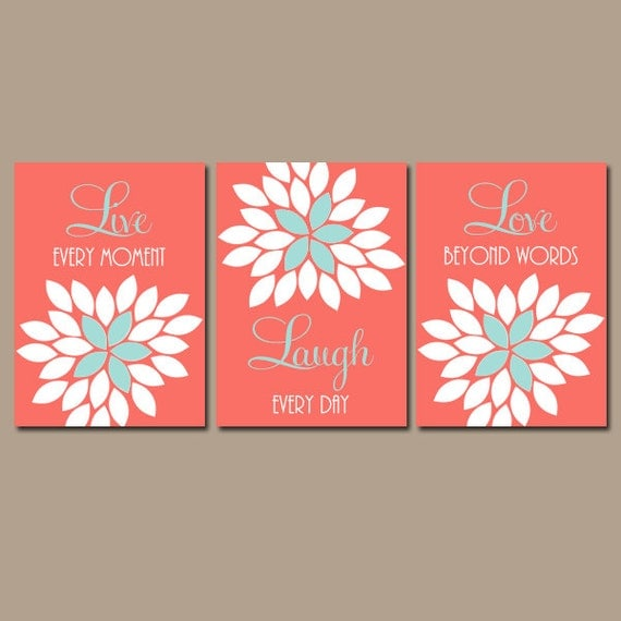 Live laugh love coral wall art coral nursery decor baby