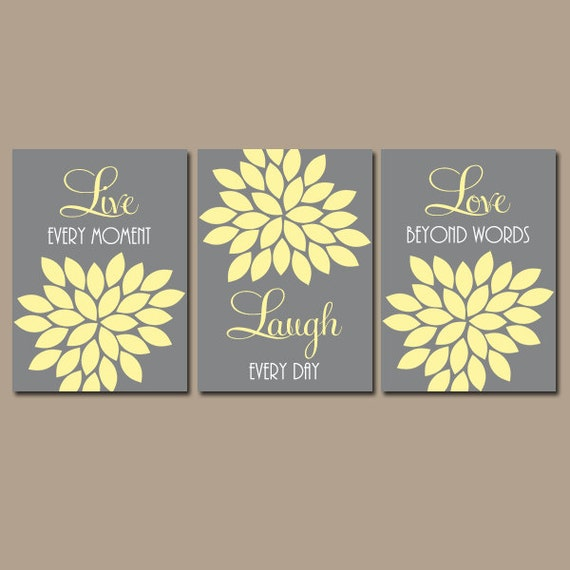live laugh love wall art yellow gray nursery art canvas or. Black Bedroom Furniture Sets. Home Design Ideas