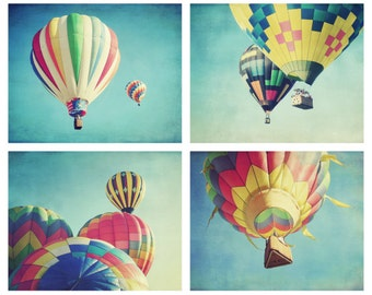 Hot air balloon photography set -  kids room decor - nursery room wall art - colorful art - yellow teal aqua blue - set of four 5x7 prints