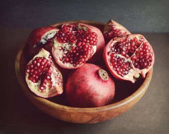 Pomegranate Dark Still Life, Fine Art Photography Print, Red Kitchen Decor, Large wall Art, Red Fruit Print  'Bounty'