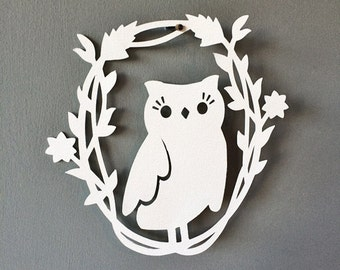 Owl Silhouette Cut Paper Art Owl In Branch Frame Owl Scherenschnitte Decor Free US Shipping