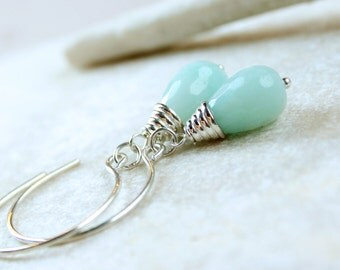 Blue Amazonite   Earrings     Sterling Silver   Gemstone Jewelry Gem Stone Jewelry Aqua Drop Handmade Jewellery  Briolette Earrings