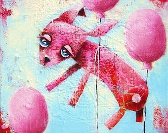 Wallpets (Julia The Rabbit) - Original Painting- 16x16cm