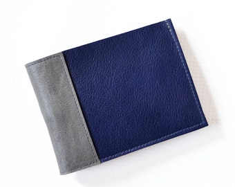 Men's Thin Wallet, Minimalist Wallet, Leather Wallet for Men, Gift for Him, Slim Wallet, Bifold Wallet - The Frankie Wallet in Royal Blue
