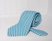Men's Necktie / Blue and White / Vintage Patterned Tie by Armando collection