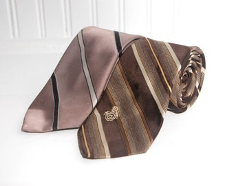 Vintage Brown Neckties / Pair of Fancy Vintage Striped Ties