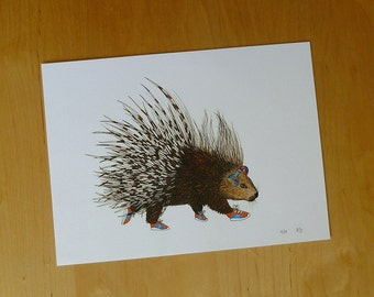 Animals on the Run Illustration - Porcupine - 9x12 Limited Edition Archival Digital Reproduction