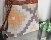 Vintage Wool / Leather Handbag Kilim