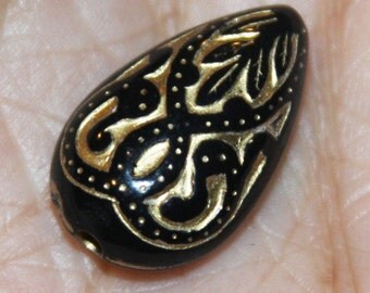 50 pcs of vintage Acrylic teardrop beads 18x11mm Black with gold accent