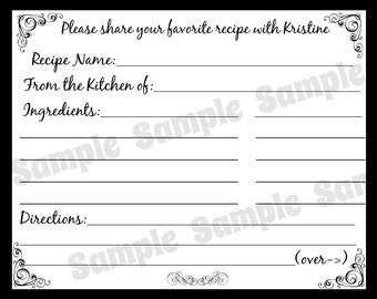 60 Bridal Shower Recipe Cards - Classic Black