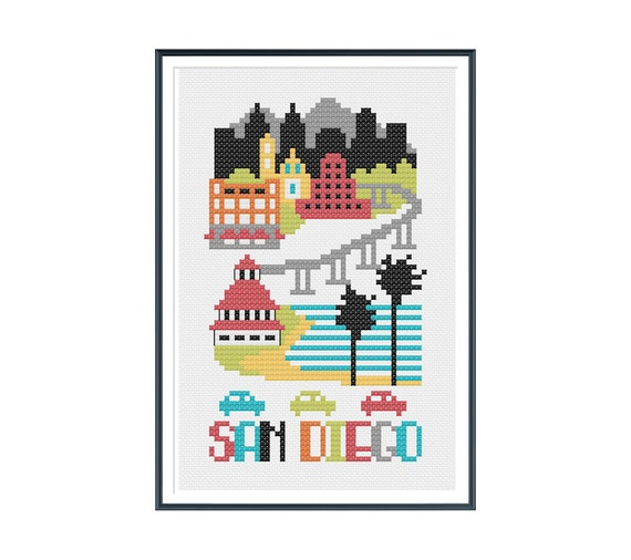 San Diego Cross Stitch Pattern Instant Download