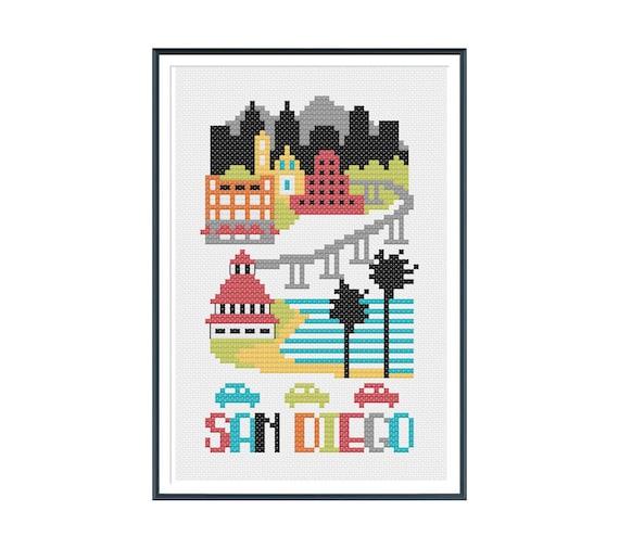 San Diego Cross Stitch Pattern Instant Download
