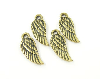 Tiny Antique Brass Plated Wing Charm, Set of 4 Antique Bronze Feather Charm |G12-4|4