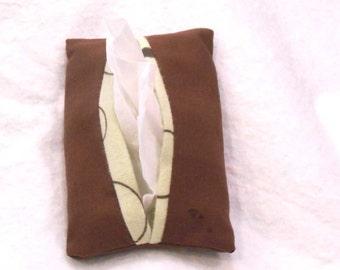 pocket tissue holder, Kleenex holder, tissue holder, travel tissue cozy - Chocolate Brown Mint Green