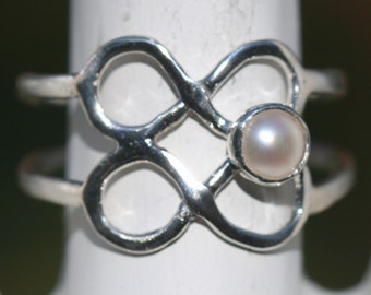Double Infinity Ring, Eternity Pearl Ring, Eternal Love Pearl Ring, Pearl Ring, Fine Silver Pearl Ring, Size 7 Ring by Maggie McMane Designs