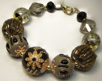 Large Big Bold Chunky Statement Bracelet with Black, Taupe, Gold Jesse James Beads
