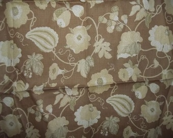 Linen Fabric Cream and Tan Floral Upholstery weight  50 x 54 inches