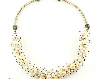 Cream and Blush Freshwater Pearl Cluster Necklace on Satin Cord (N74)