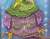 "Beautiful Bird 14 - an 8 x 10"" ART PRINT of a plump and fluffly grape purple and lime green bird who is bending his branch every so slightly"