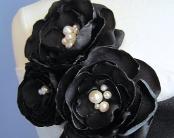 fabric flower brooch - small triple black blooms with ivory freshwater pearls - Made To Order