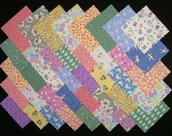 1930's REPRODUCTION 100% cotton Prewashed 4 inch Quilt Fabric Squares (A/17B)
