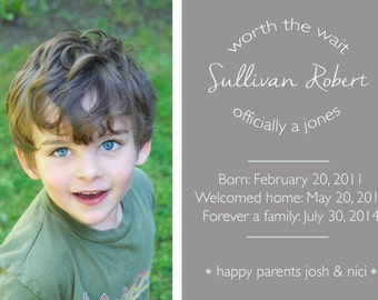 Adoption Announcement - Worth The Wait - Photo - Custom Color - OFFICIALLY OURS - simple design - 5x7 - Gotcha invitation -