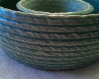 Vintage Pottery Pansy Vase Soft Matte Green