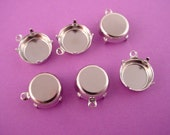 Silver tone  Round Prong Settings 13mm 1 Ring Closed Backs Shallow Wall Settings for Cabochons and Flat Back Stones = 12 Pieces
