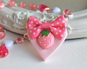 Pink Strawberry  and bow on a heart necklace KAWAII Gothic Lolita