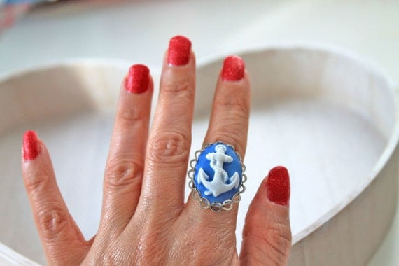 Anchor ring cameo blue white Fantasy Kawaii rockabilly nautical