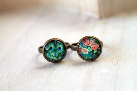 Set 2 rings peacock and flower teal green blue romantic feminine sweet cute