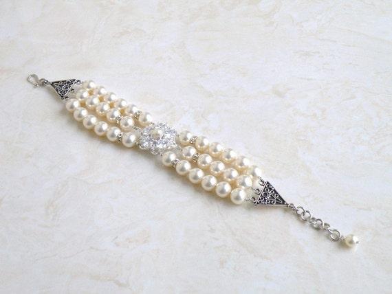 Swarovski Ivory Pearl CZ Sterling Silver 3 Strand Brooch Bracelet GB1