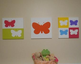 Butterfly Nursery Art Modern Pop Art Canvas Hand Painted Set of 3