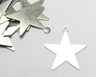 Bright nickel silver solid star charms w loop 3/4 24 gauge  20 pack coin silver for stamping