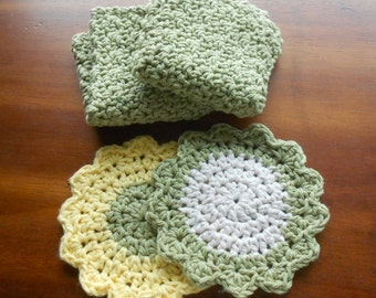 Olive Green Crochet Dishcloths and Yellow Ecru Flower Coasters Mug Rugs