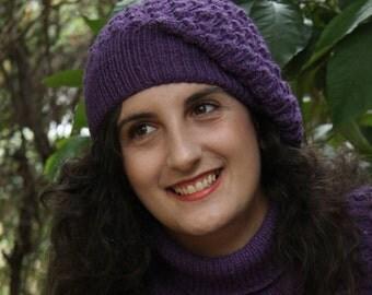 purple hat,knitted hat, beanie hand knit hat purple sloucht hat, knit hat, bobbles, knit tam,knit beret,winter accessories