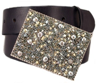 Beaded Belt Buckle Shimmer Silver Gray