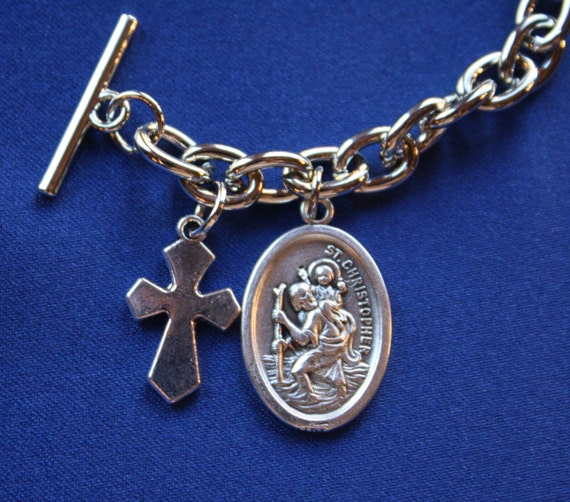 st christopher medal charm bracelet by faithsymbol
