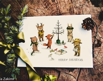 Christmas print, Christmas animals print, holiday print,  4x6 inches