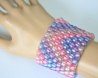 Translucent Pastel Kandi Cuff, Crystal Kandi Bracelet, Fairy Kei Raver Plur