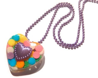 Candy Heart Necklace, Lilac Sprinkles Pendant, Sweet Lolita Pastel Jewelry