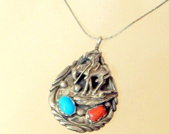 Vintage Robert Becenti Navajo Pendant - Turquoise And Coral - Indian Horse  - Sterling Silver - Native American - Signed
