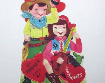 Vintage Children's Mechanical Valentine Greeting Card with Cowboy in Hat and Gun and Cowgirl Playing a Banjo