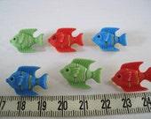 12pcs of Shank  Fish Button - Matte Red Green Blue