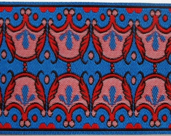 3 yards SACHAY wide Jacquard trim in red pink black on royal blue. 2 inch wide. R28B