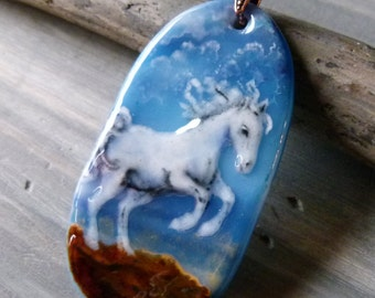 White horse necklace -  fused glass pendant